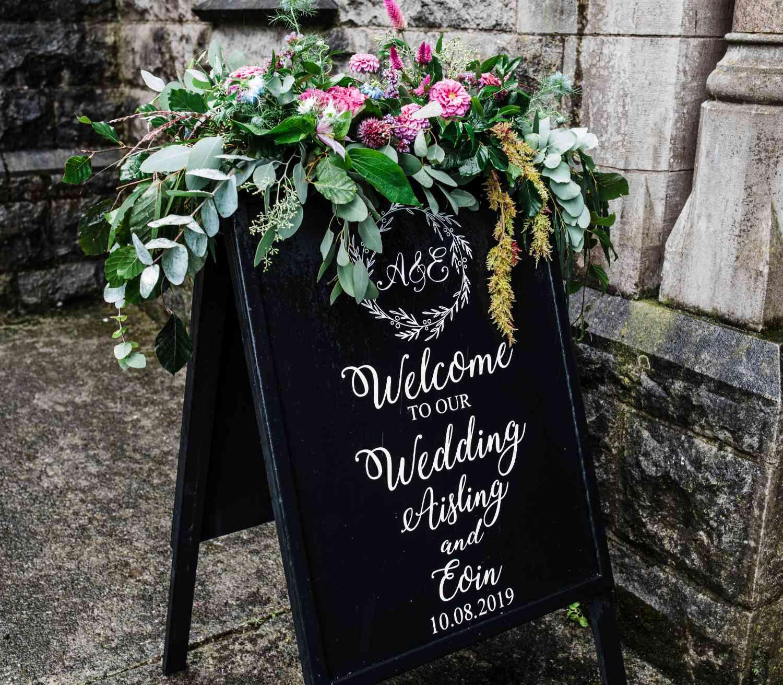 Church Wedding Sandwich Board Decoration