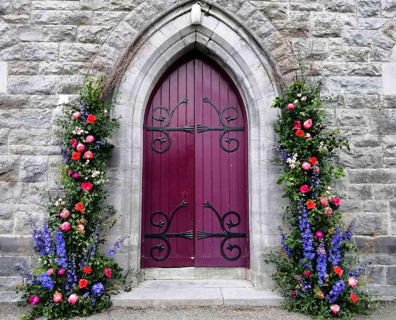 Floral Installation Around Church Doorway