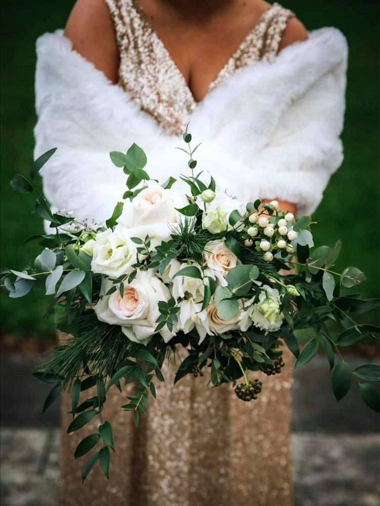 Rose Wedding Bouquet with Foliage
