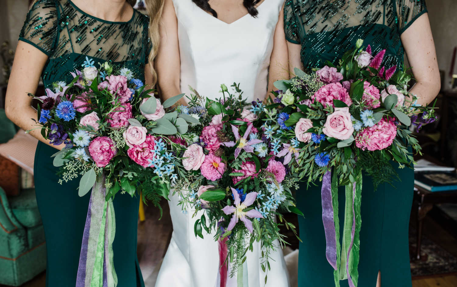 Pink and Purple Bridal Bouquets