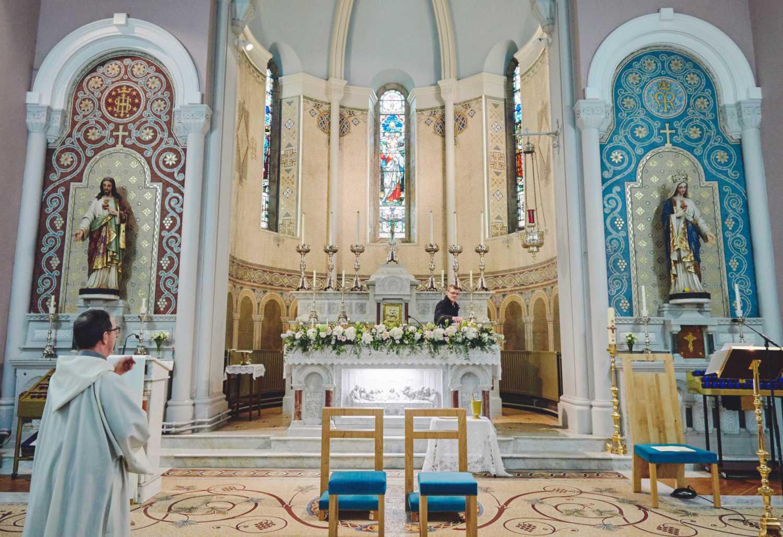 White Rose Display on Church Altar